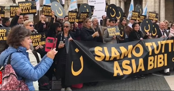 A gathering in Rome to demand the freedom of Asia Bibi. / Screenshot Vatican News,