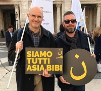 Representatives of the Italian Evangelical Alliance at the rally in Rome. / AEI