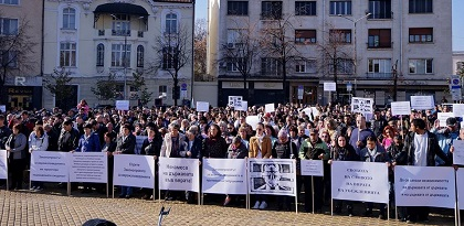 Rally in Sofia against a new religion law that restricts rights of minorities, on November 10. / Photo: Yasen Tsenov