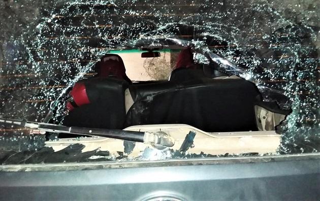 Damage Hindu extremist mob did to Pastor John Lakras car. / Morning Star News,