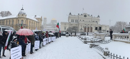 Despite the heavy snow, about 150 people gathered in front of the Bulgarian Parliament in Sofia on December 16. / Vlady Raichinov