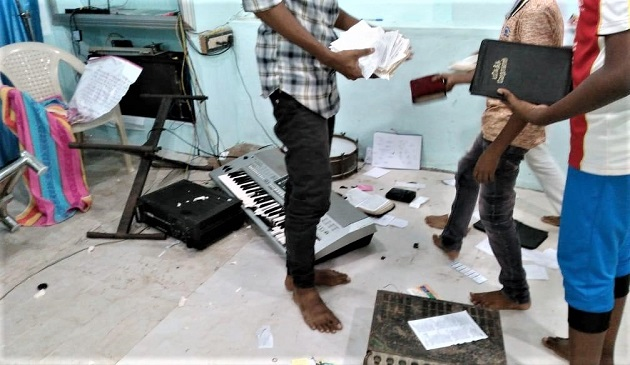Hindu extremists damaged property at a church in Eraniel, Tamil Nadu state, India. / Morning Star News,