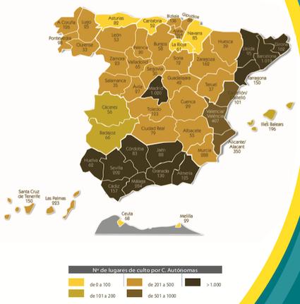Worship places of faith minorities in Spain, by region. / Fundación Pluralismo y Convivencia