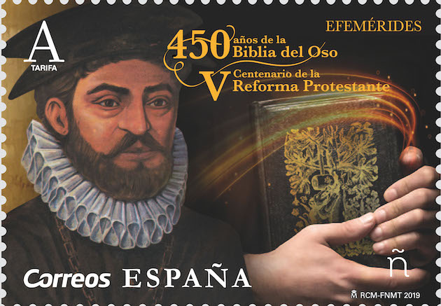 The stamp issued by the Spanish Philatelic Commission honours the Protestant Reformation and Bible translator Casiodoro de Reina. / Correos,
