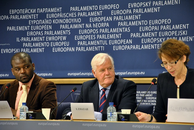 Former EEA Brussels officer Christel Lamère (left) and author Os Guiness (centre) speaking about freedom of conscience at the European Parliament, in Brussels. / EEA,