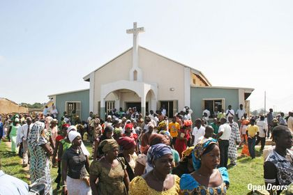 Nigerian Christians after a church service. / Open Doors