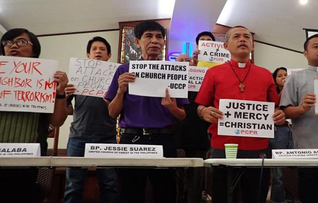 Representatives of different religious organisations, asking for the end of the attacks against bishops and pastors . / NCCP, Mon Ramírez,