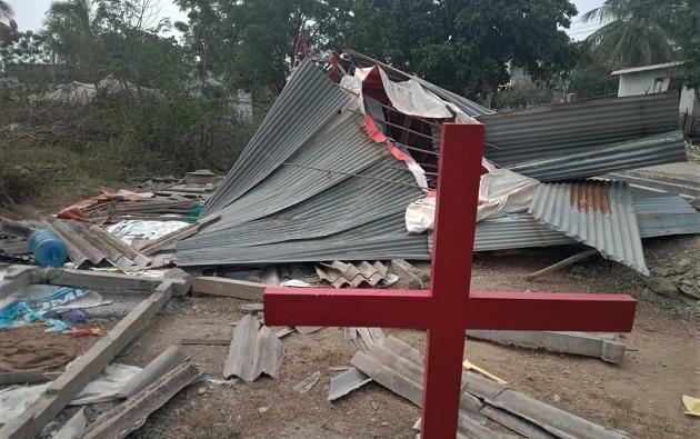 Church building demolished on Jan. 9, 2019 in Narnepadu village, Guntur District, Andhra Pradesh state, India. / Morning Star News,