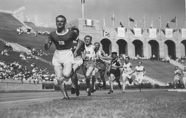 Lehtinen in the  1932 Olympic Games in Los Angeles. / Australia Olympic Comitee.,
