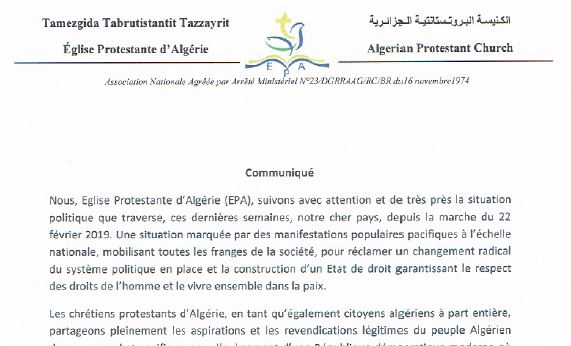 The statement of the Algerian Protestant Church.