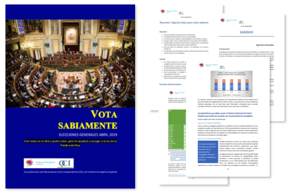 The Vote Wisely guide of the Spanish Evangelical Alliance for the 2019 general election. / AEE