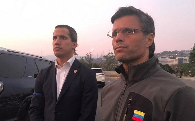 Self-declared Interim President of Venezuela Juan Guaió and freed anti-Chavist leader Leopoldo López, on April, 30. / Twitter Leopoldo López,