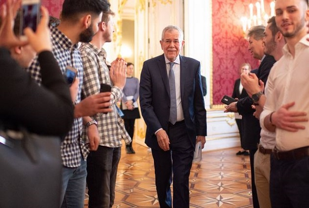 President of Austria Alexander van der Bellen during an institutional event in Vienna. / Twitter A. Van der Bellen,