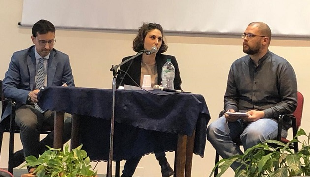 Roundtable on media with Elpidio Pezzella, Chiara Lamberti, and Davide Bogliolo, during the AEI general assembly in Rome, May 2019. / AEI,