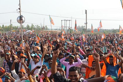 Supporters of BJP, the party of Prime Minister Narendra Modi. / Twitter @BJP4India