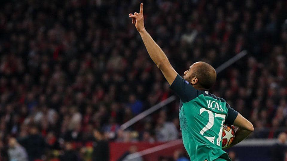 Lucas Moura celebrates a goal against Ajax Amsterdam on May 8, 2019. / Photo: Facebook page Lucas Moura,