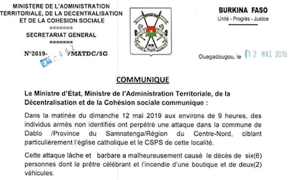 Statement of the Burkina Faso government after the terrorist attack. / L'Observateur Paalga