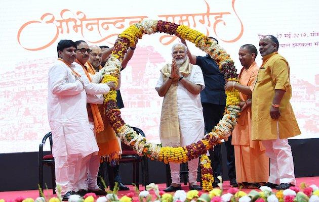 Narendra Modi celebrates his new victory. / Twitter @narendramodi,