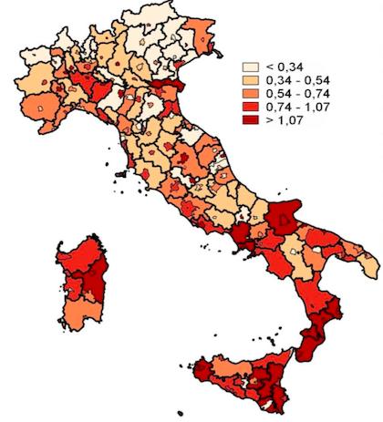 Crime in Italian provinces, 2012-2016. / Istat