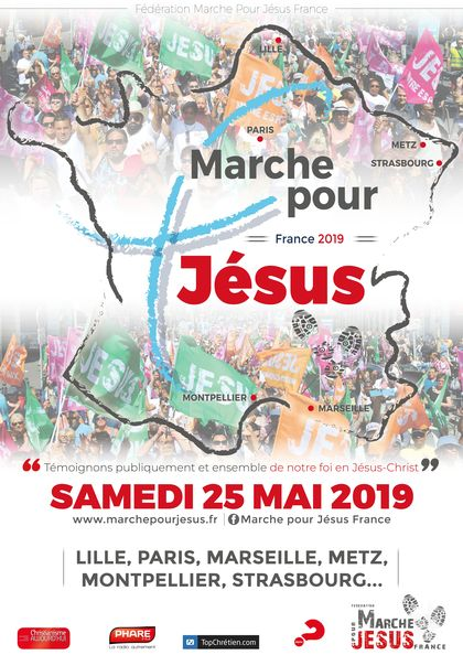 The marches took place in  Lille, Marseille, Metz, Montpellier, Paris and Strasbourg. / Marche pour Jesus.