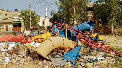 The playground was completely destroyed. / Iftikhar Indryas.