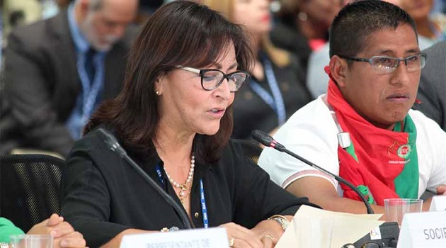 Pastor Milagros Aguayo, an evangelical representative, spoke about the need of strenghtening families in Latin America, during the OAS General Assembly, in Medellín. / ED,