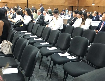 Empty seats inside the zone for accredited visitors, during the OEA General Assembly, in Medellín. / ED