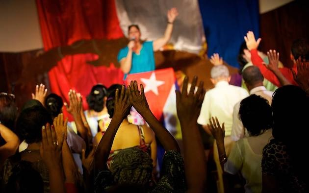 A worship service of an evangelical church in Cuba. / Facebook Evangelical League Cuba,
