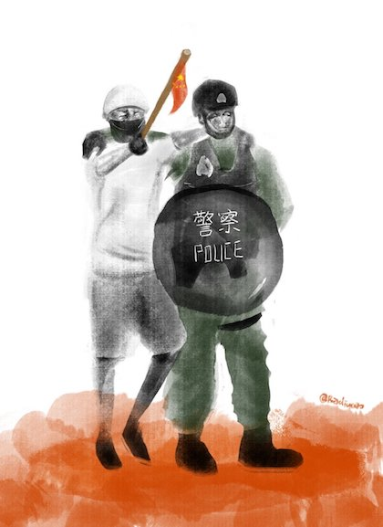 Drawing by Budicao,representing Chinese authorities manipulating the Hong Kong police. / Twitter @HongKongFP, Budicao