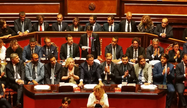 Giuseppe Conte during his resignation. / Twitter @SenatoStampa,