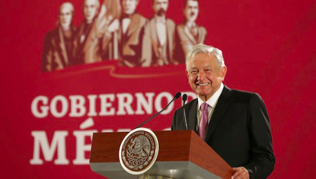 Andrés Manuel López Obrador during a presentation of the Moral Booklet. / Gobierno de México,