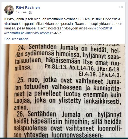 The message quoting the Bible posted on 17 June on Facebook by Päivi Räsänen. / Facebook