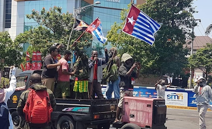 Protesters claim for the independence of West Papua. / ULMWP