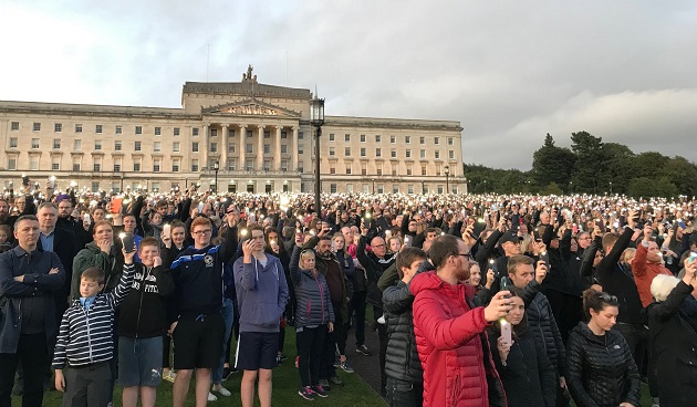Protesters on Friday 6 September against the liberalisation of abortion laws in Northern Ireland. / Twitter @Peter Lynas ,