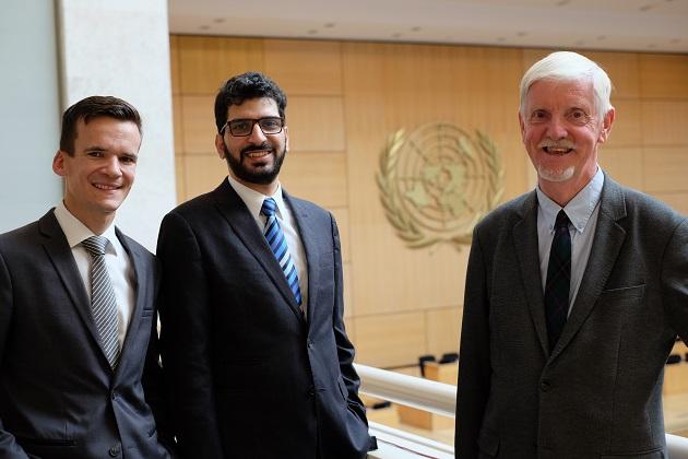 Michael Mutzner, Wissam Al-saliby and Albert Hengelaar, World Evangelical Alliance representatives at the United Nations Human Rights Council. / WEA,
