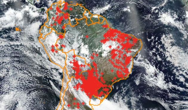 Active fires in Brazil, on October 1, 2019. /Queimadas, INPE,