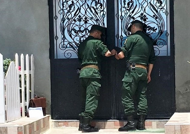 Gendarmes seal shut doors of church in Boudjima, Algeria on May 22, 2019. / Morning Star News,
