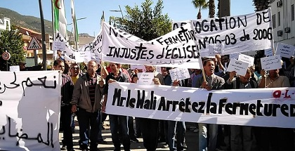 Algerian Protestant Christians demonstrate for freedom of religion, October 2019. / EF