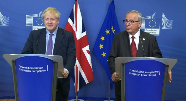 UK Prime Minister Boris Johnson and European Commission President Jean-Claude Juncker, announcing the new Brexit deal. /  Facebook EU Commission,