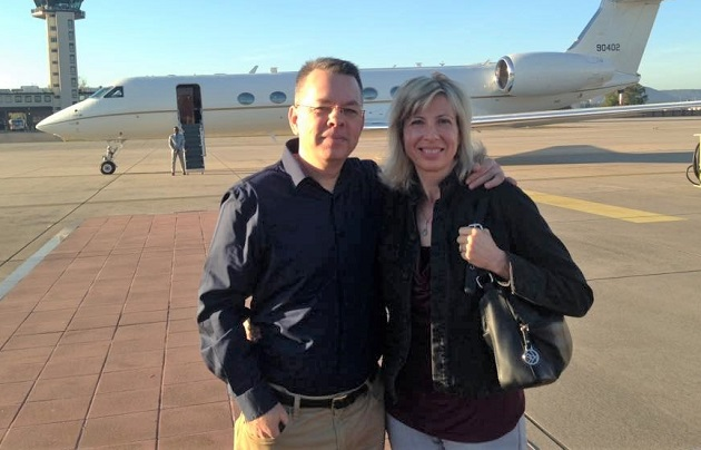 Pastor Andrew Brunson and his wife Norine after landing in the US on 13 October 2018. / Facebook Andrew and Norine Brunson.,