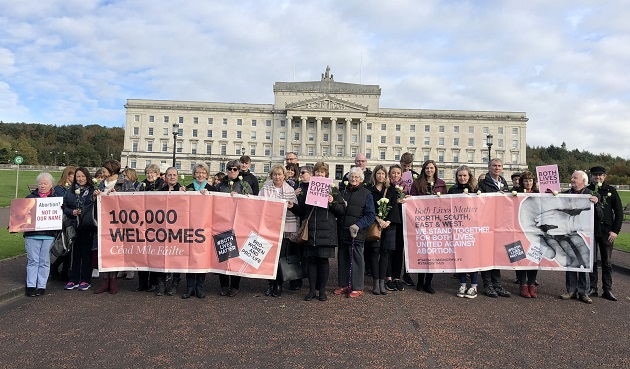 Some pro-life activists protested outside the Stormont Northern Ireland Assembly, on 21 October 2019. / Facebook Both Lives Matter,