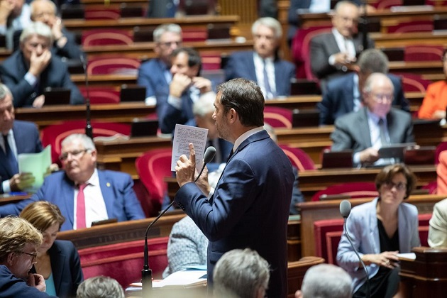 the French Minsiter of the Interior, Christophe Castaner, speaking at the Senate, October 2019. / Facebook Sénat,
