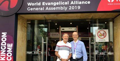 Secretary General of the Spanish Evangelical Alliance, Xesús Manuel Suárez and Bolivian pastor Carlos Nanetti Pereira.