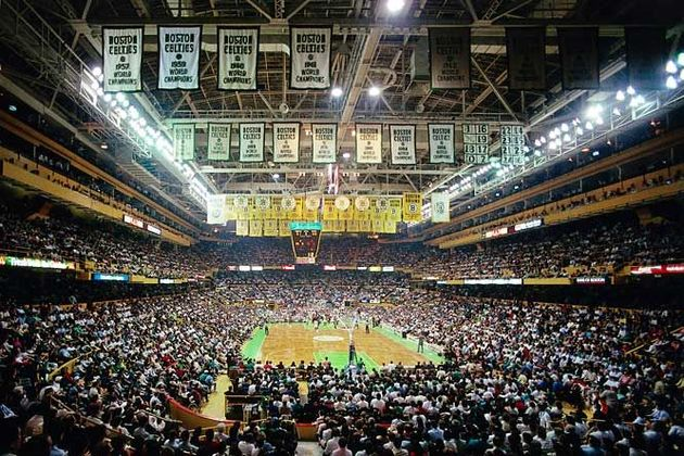 The pennants hanging from the ceiling denote the years in which the Celtics have won the championship.,