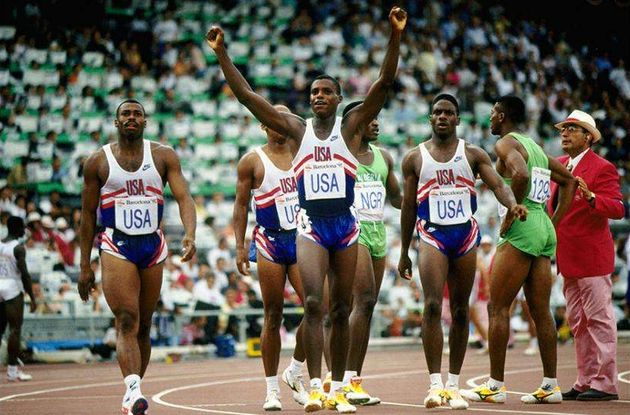 In the Barcelona Olympics the USA team ran the 4x100m. relay in 37.4 seconds. / YouTube,