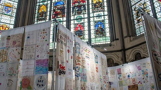 16,000 squares of fabric were held  at Westminster Abbey ti support persecuted Christian women. / Open Doors UK.,
