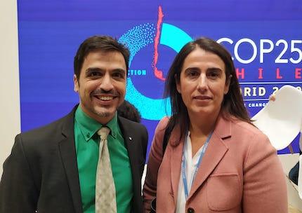 Spanish Evangelical Alliance representative Emilio Carmona, and AECID Director of Cooperation with Latin America, Carmen Castiella, at COP25.