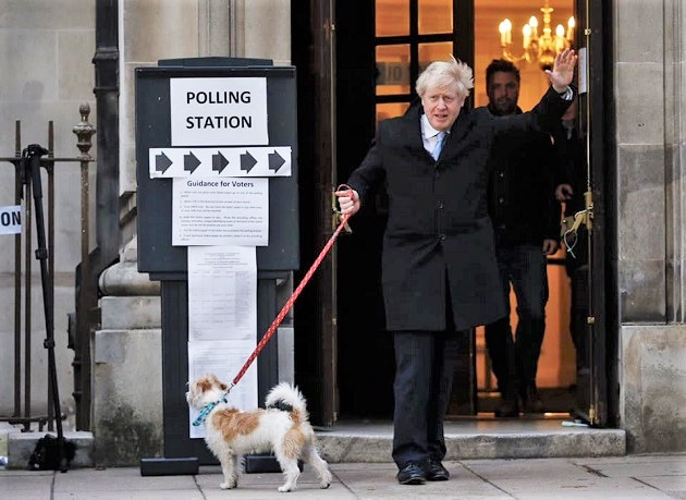 Conservatives leader Boris Johnson after voting on December 12, 2019. / Facebook Conservatives,