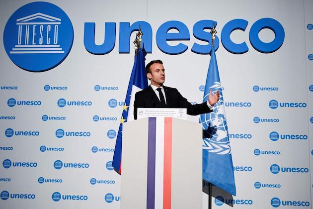 Emmanuel Macron during his speech at UNESCO celebration of 30th anniversary of Convention on Rights of the Child. / L'Union,