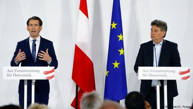 Sebastian Kurz (ÖVP) and Werner Kogler (Greens) during the joint press conference. / You tube.,
